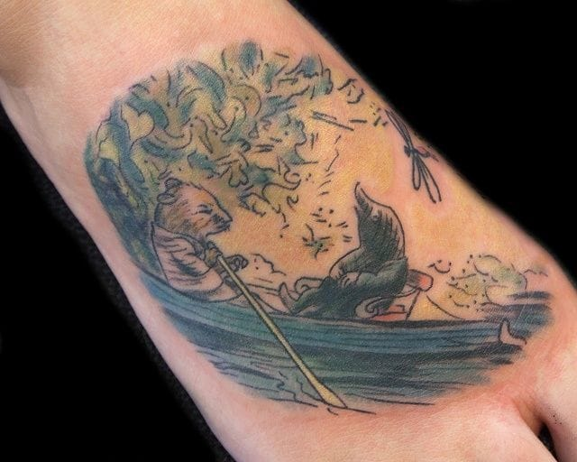 Do you know this novel and comic book, The Wind in the Willows? It is a very nice English summer story for every age. Tattoo by Steph Hanlon.