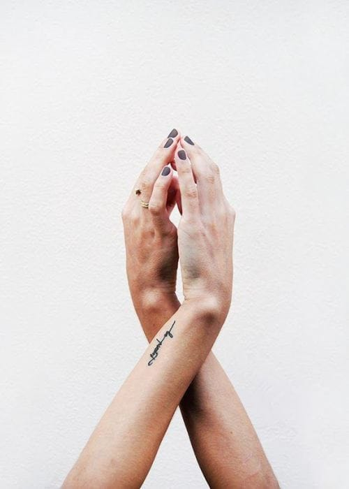 Simple lettering tattoo from Tumblr #wrist #lettering #wristtattoo #linework #minimalist