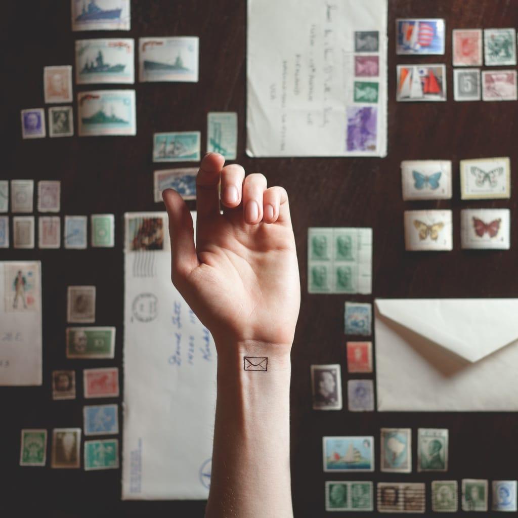 Courtesy of Tott Photo, minimalist envelope tattoo #wrist #wristtattoo #minimalist #envelope