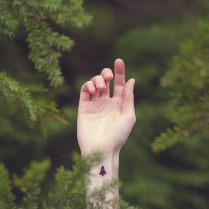 Wrist tattoos look best in minimalism style, cute tree tattoo, Courtesy of Tott Photo #wrist #wristtattoo #minimalist #tree