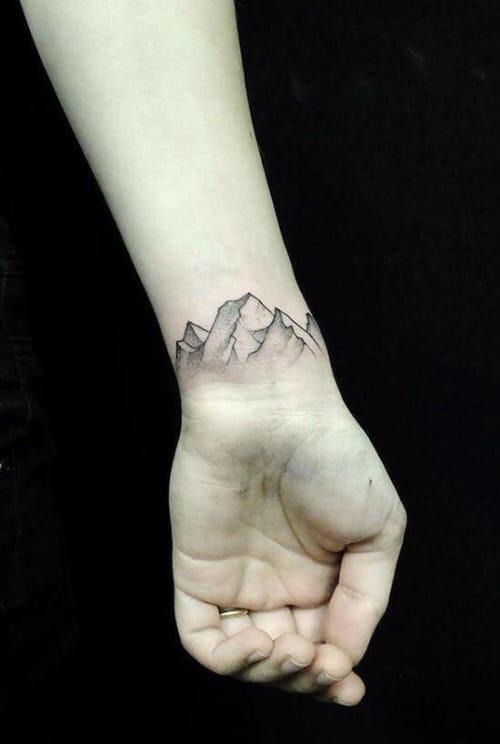 Beautiful mountain tattoo #wrist #wristtattoo #minimalist #mountain