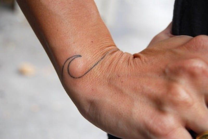 Wave tattoo, line artwork idea for wrist tattoos #wrist #wristtattoo #minimalist #wave