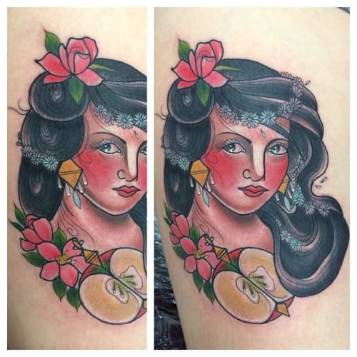Apple Woman Tattoo by Amy Victoria Savage