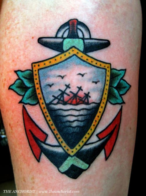 Sinking Ship Anchor Tattoo by Charley Gerardin
