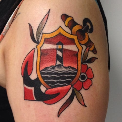 Lighthouse Anchor Tattoo by Javier Wolf Betancourt