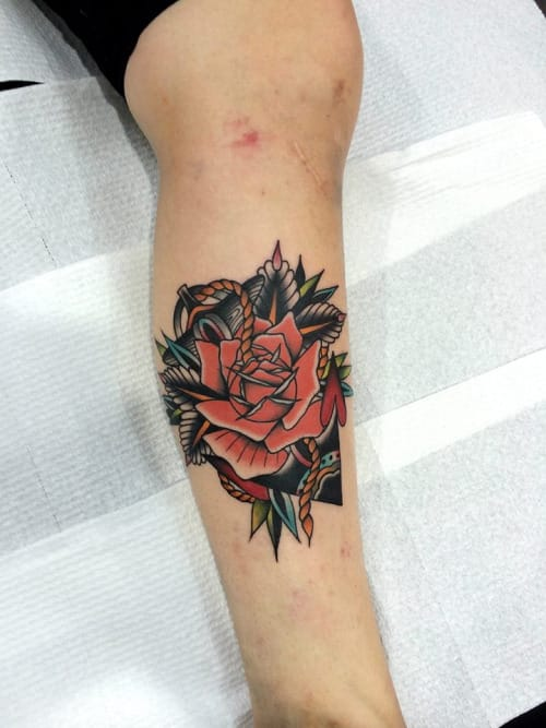 Rose Anchor Tattoo by Kirk Jones