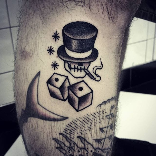 Blackwork Dice Tattoo by Antoine Gaumont