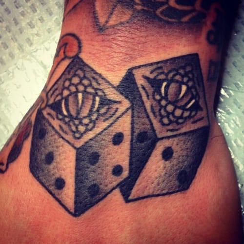 'Snake Eyes' Dice Tattoo by Matt Bivetto