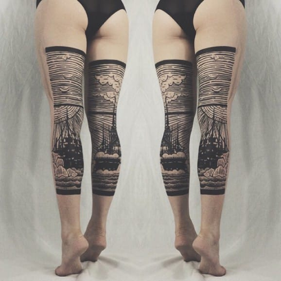 Leg Tattoos by Thieves of Tower