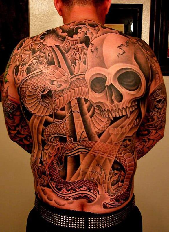 Skull and Snake Tattoo by Tim Hendricks