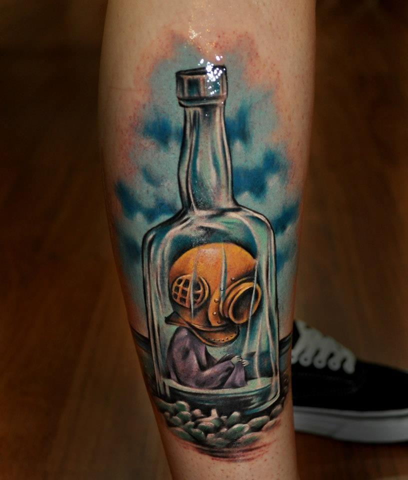 Benjamin Laukis e o mergulhador preso na garrafa, que triste!