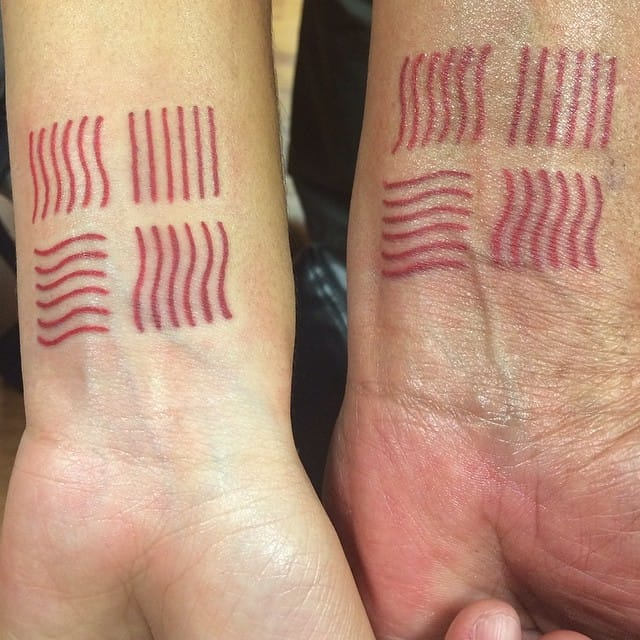 The Fifth Element matching tattoos of @themarkremains and his daughter