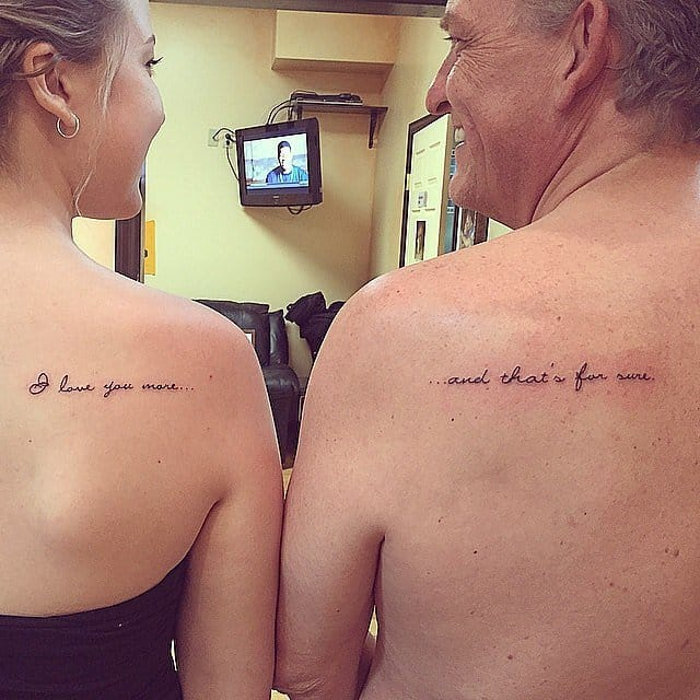 Matching tattoos of Emilia Haycock and her dad