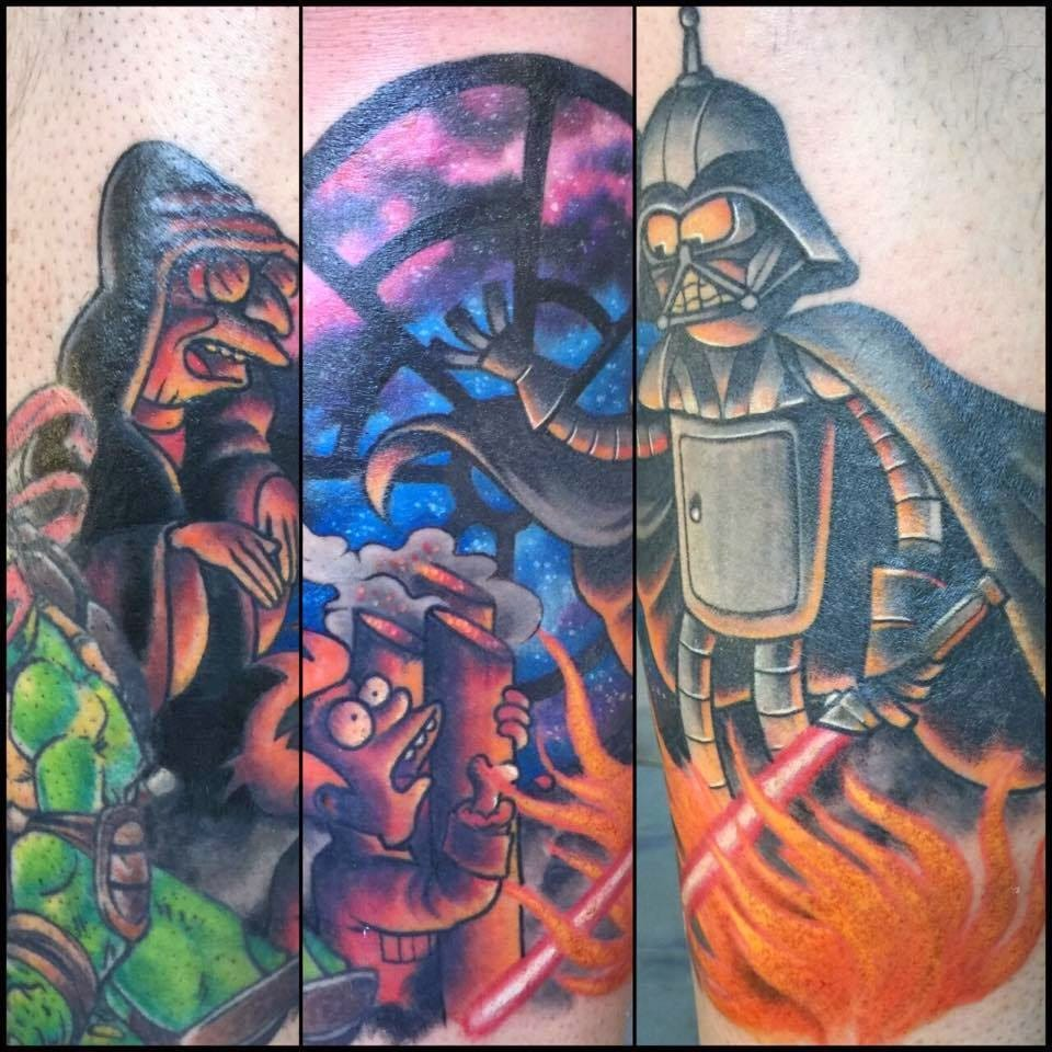 Cool Star Wars themed Futurama tattoo. Bender looks so AWESOME as Vader, DARTH BENDER!!