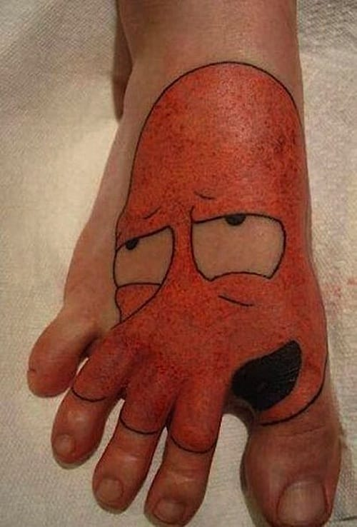 Really funny Zoidberg tattoo on foot, check out the toes!! ROTFL