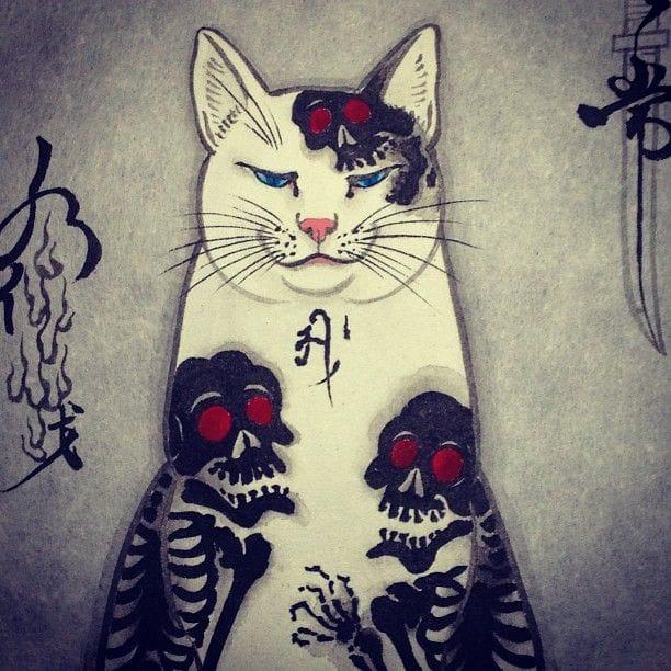 Adorable Tattooed Monmon Cats By Horitomo