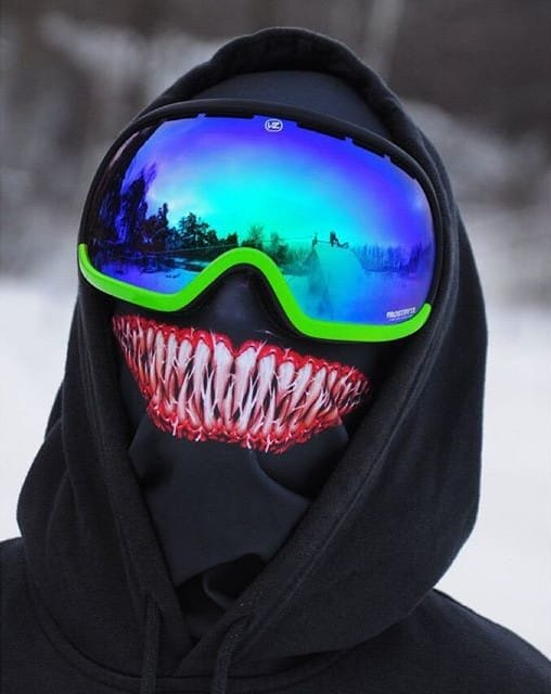 Hey, this one's not an animal ski mask! True, but it's better—that's Spiderman villain, Venom!