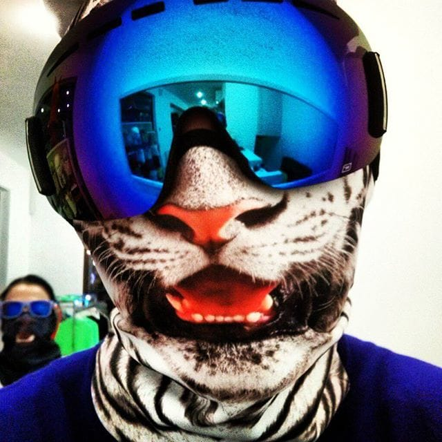 The tiger is obviously ready for some ski action!