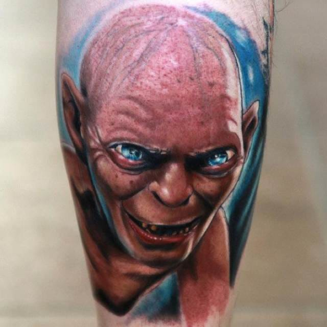 Colored Gollum tattoo