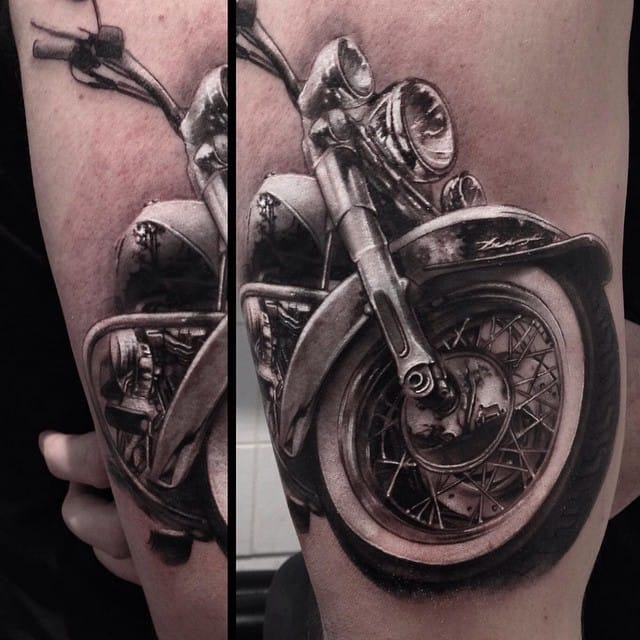Awesome Motorcycle Tattoo by Leonardo Acosta