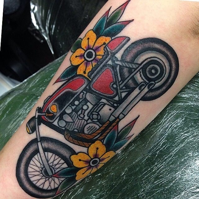 hit the road with these 15 motorcycle tattoos tattoodo. Black Bedroom Furniture Sets. Home Design Ideas