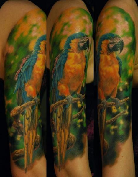 Beautiful True Parrot Tattoo by Negative Karma