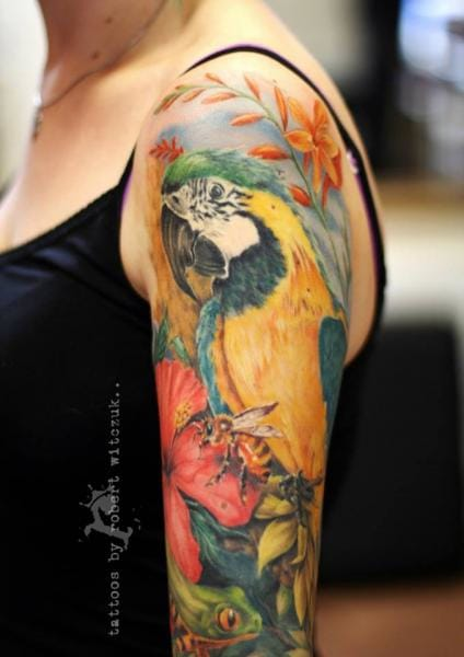 Fantastic Parrot Tattoo by Robert Witczuk