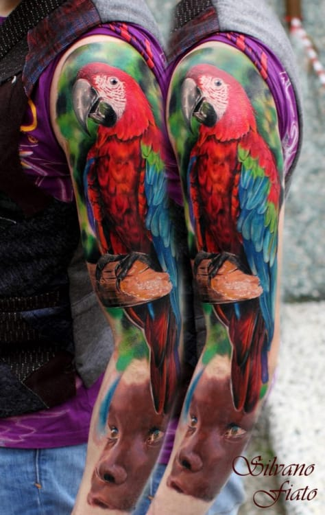 Amazing Parrot Tattoo by Silvano Fiato