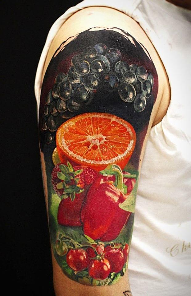 Fruits half sleeve by Andrey Kolbasin.