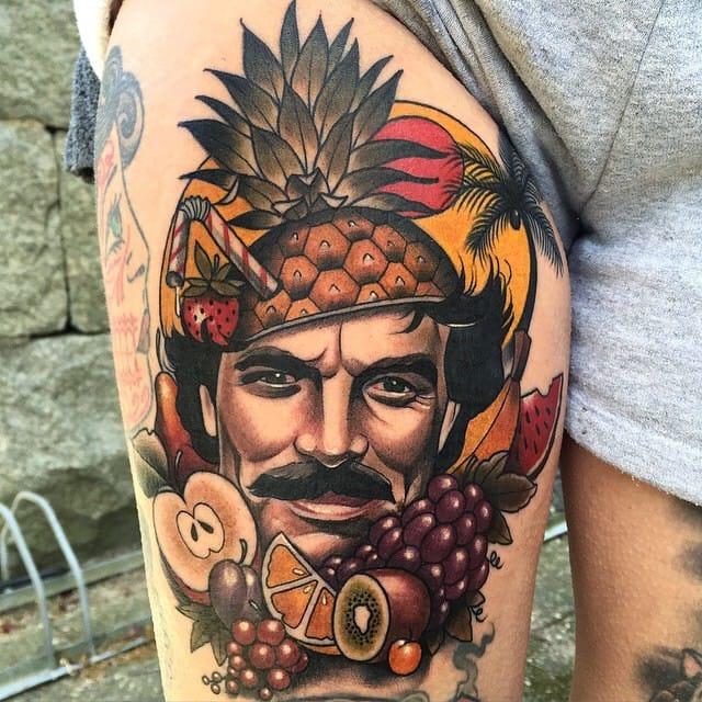Funny Tom Selleck tattoo by Fru Duva...