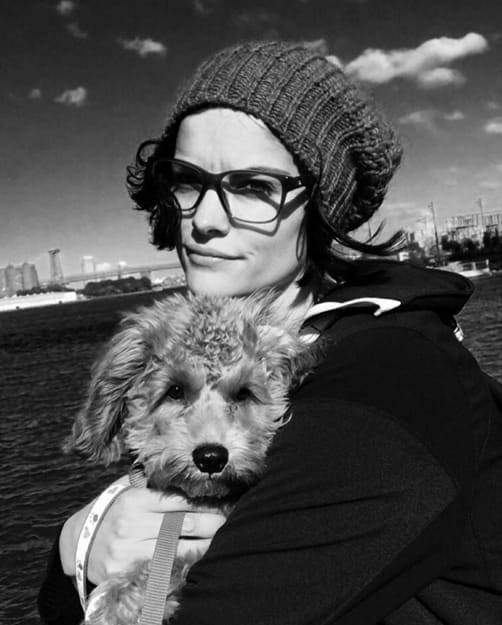 jaimie alexander and a puppy