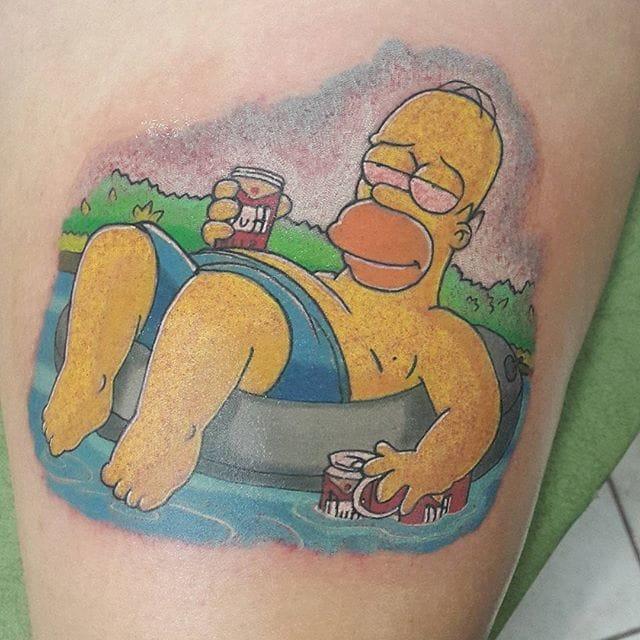 Homer Simpson Tattoo by Esteban Delgado Badilla