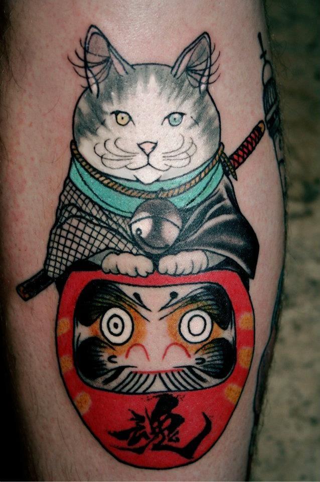Creative Cat Tattoo by Akuma Shugi