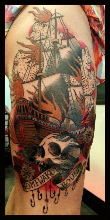 Homeward Bound Skull Tattoo by Alix Ge
