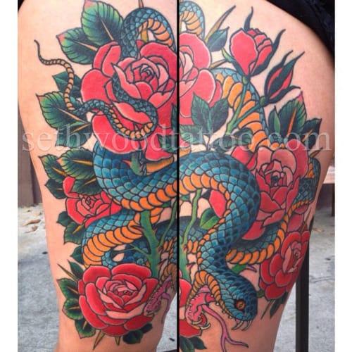 15 Artistic Snake Rose Tattoos