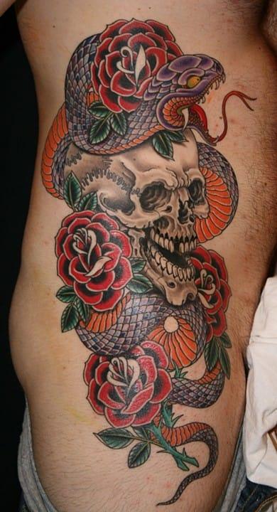 Awesome skull snake rose artwork