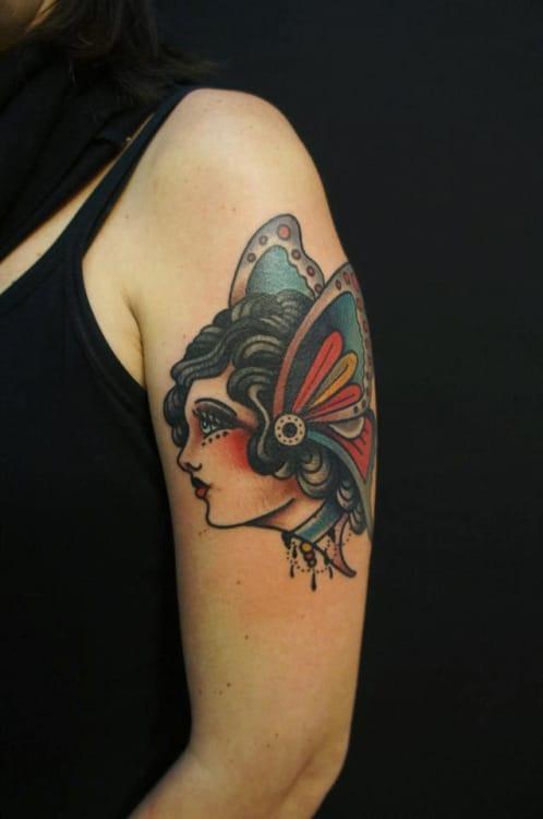 Butterfly Woman Tattoo by Dane Mancini