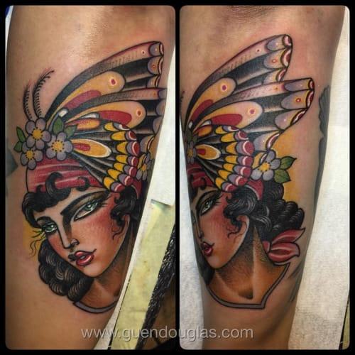 Butterfly Woman Tattoo by Guen Douglas