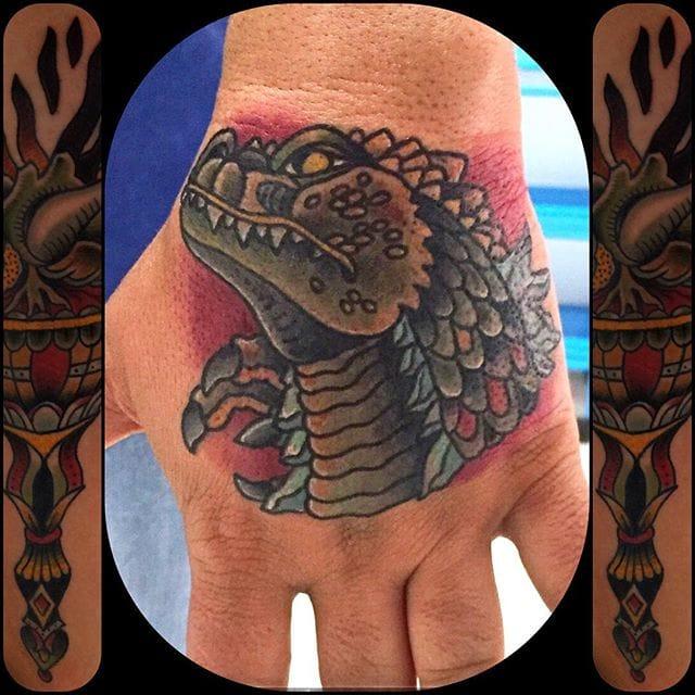 Solid Godzilla Tattoo by Alex Alcazar
