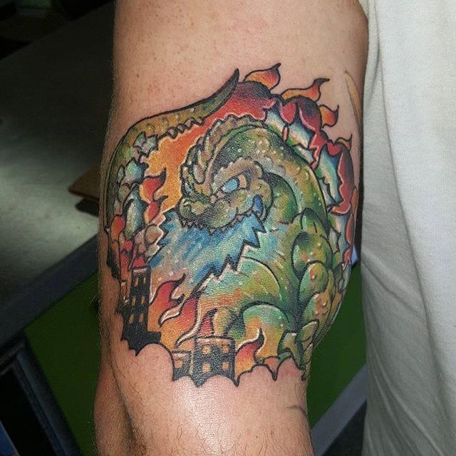 New School Godzilla Tattoo by Chris Akins