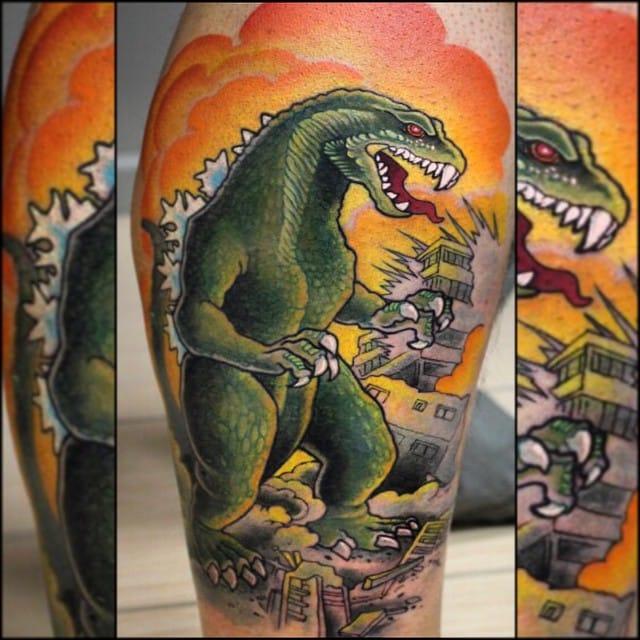 Destructive Godzilla Tattoo by Jess Rocha