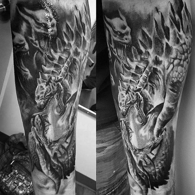 Godzilla Tattoo by Kevin Soto