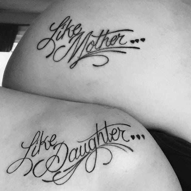 Like mother like daughter tattoos of Paige and her mom. #lettering