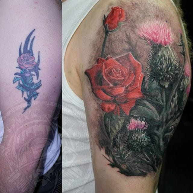 Marvellous flower tattoo cover-up. #tribal #tribaltattoos #lines #coverup #floral