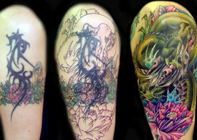 Colorful flower and dragon coverup idea for bad tribal tattoos. #tribal #tribaltattoos #lines #coverup