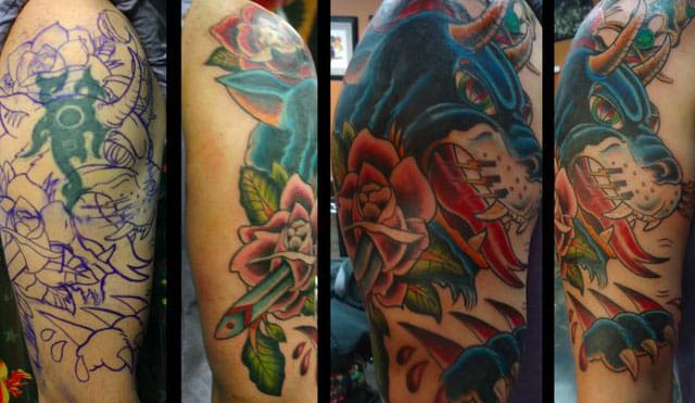 Old school style color tattoo cover-up. #tribal #tribaltattoos #lines #coverup
