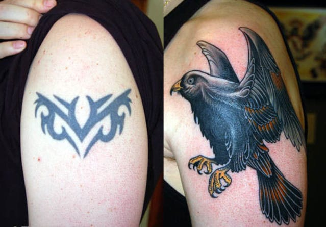 Great tribal coverup. You can hardly tell it was there. #tribal #tribaltattoos #lines #coverup