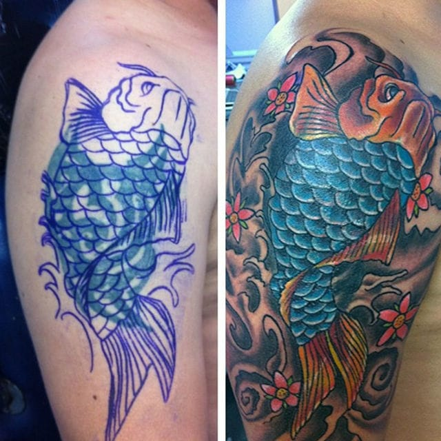 A koi tattoo is a great idea to cover up heavy black lines of tribal tattoos. #tribal #tribaltattoos #lines #coverup #koi