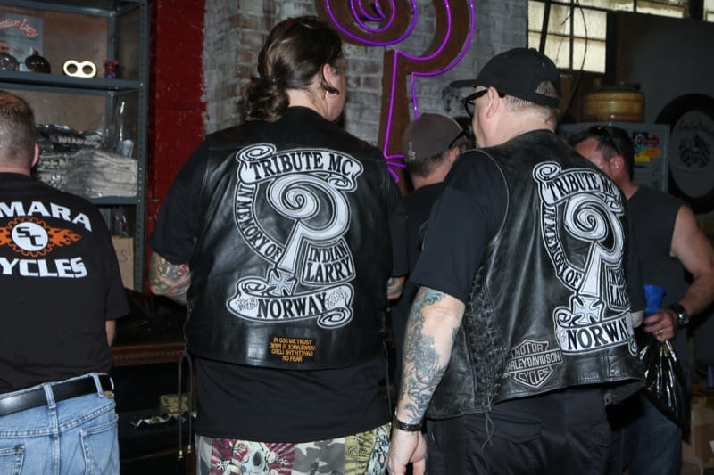 Norwegian bikers pay tribute to Indian Larry with their motorcycle club.