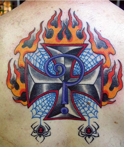 Classic Iron Cross tattoo seen on many bikers integrated with the Indian Larry Logo. Pic courtesy of indianlarry.com